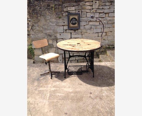 table touret r tro vintage industriel loft m tal industriel 86160. Black Bedroom Furniture Sets. Home Design Ideas