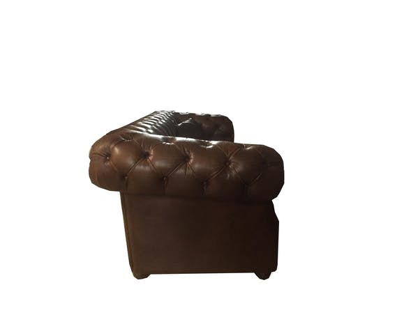 Chesterfield style sofa in vintage brown leather