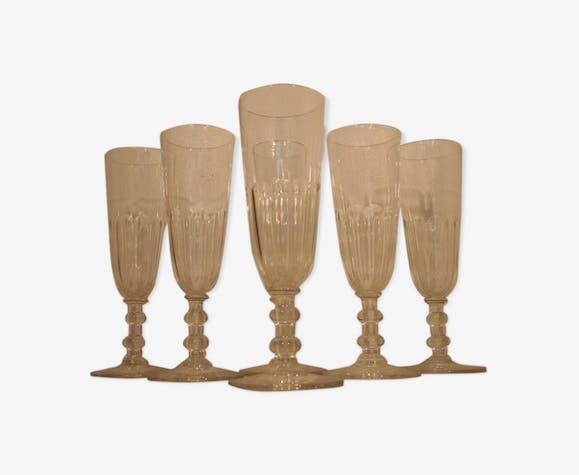Set de 6 flutes a champagne cristal taillé cotes plates Baccarat Saint Louis 19ème