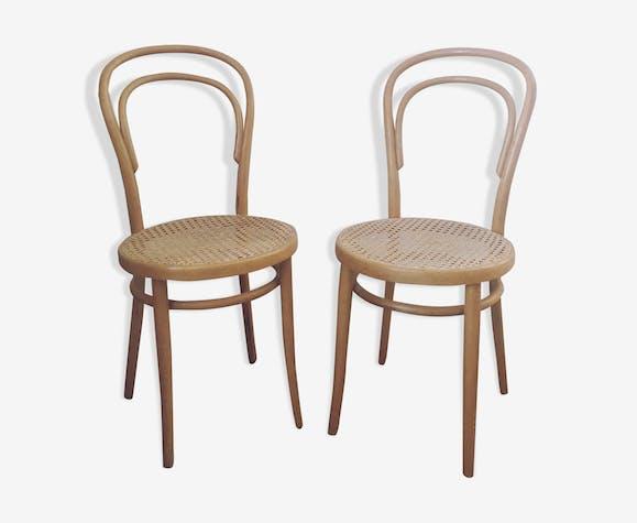 2 chaises bistrot cannées Thonet n°14 Radomsko