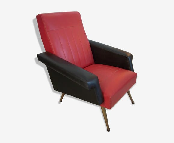 Fauteuil Club De 1960 Simili Cuir Bi Color Skai Rouge