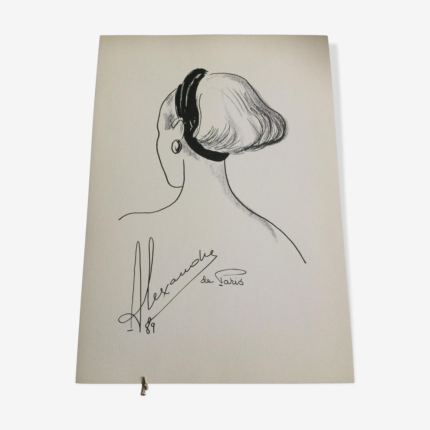 Illustration de mode de presse Alexandre de Paris époque fin 1980.