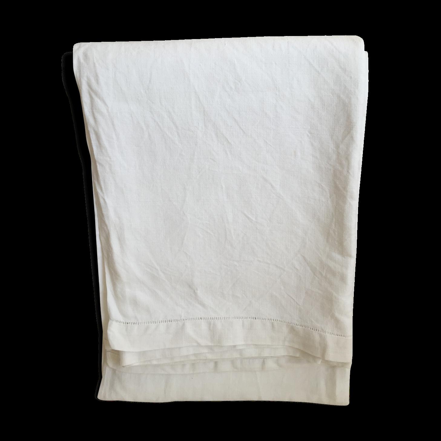 Drap ancien lin 3,1 m x 2,2 m - tissu - blanc