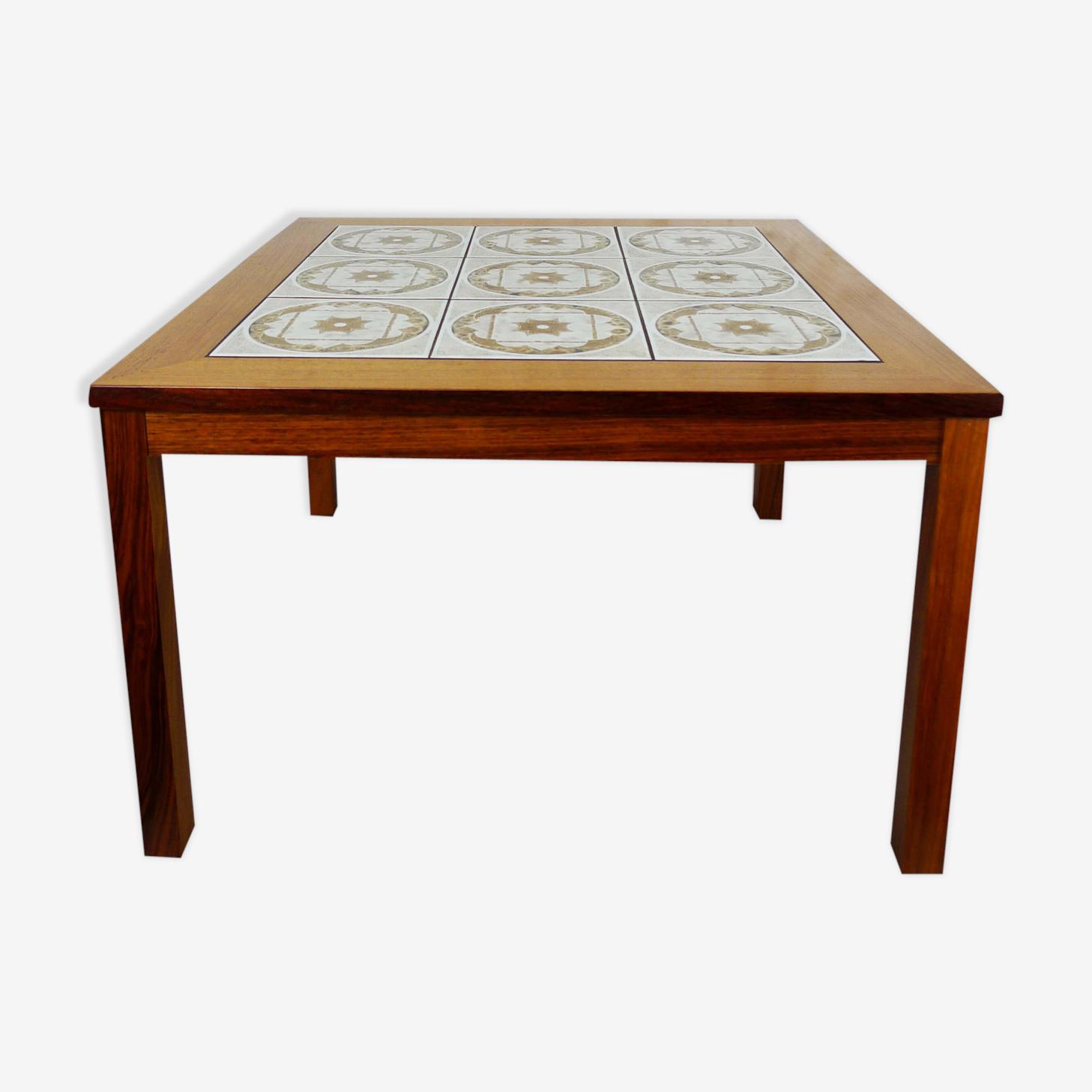 Table en teck avec céramique, Danemark, 1970