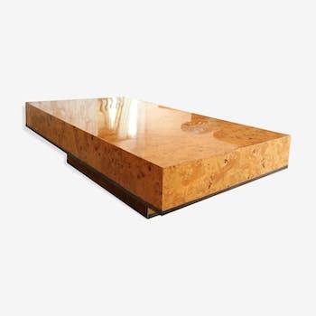 Table basse Roche Bobois JC Mahey en loupe de bois fin des années 70