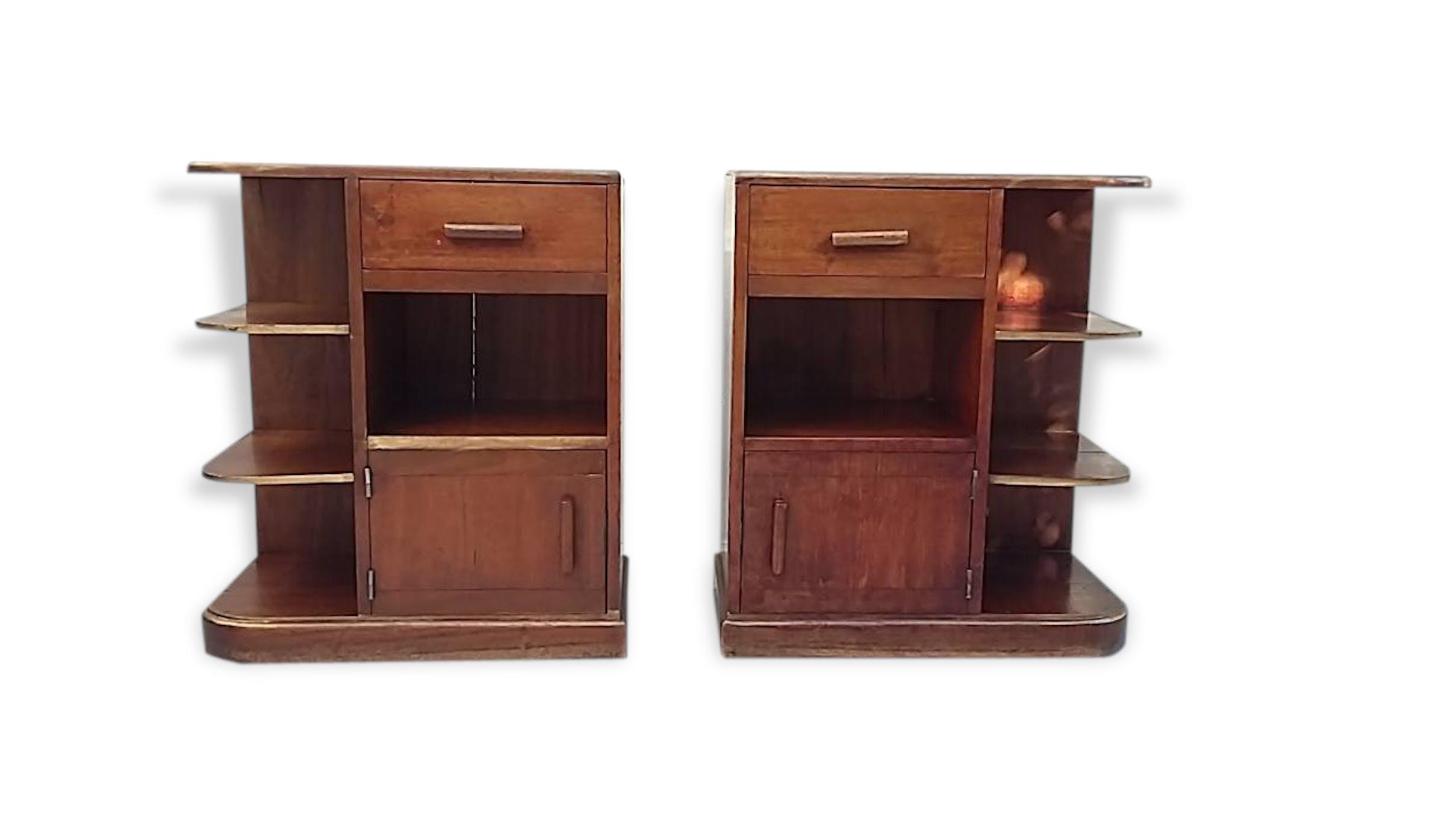 lot de 2 meubles auxiliaires art déco (année 30/40) - bois (matériau