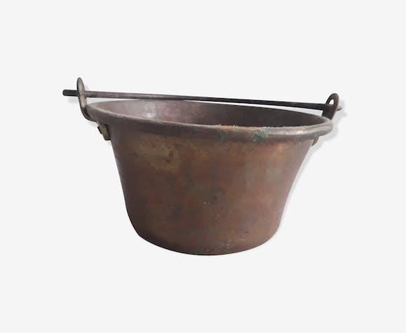 Cache-pot chaudron cuivre martelé vintage 1950