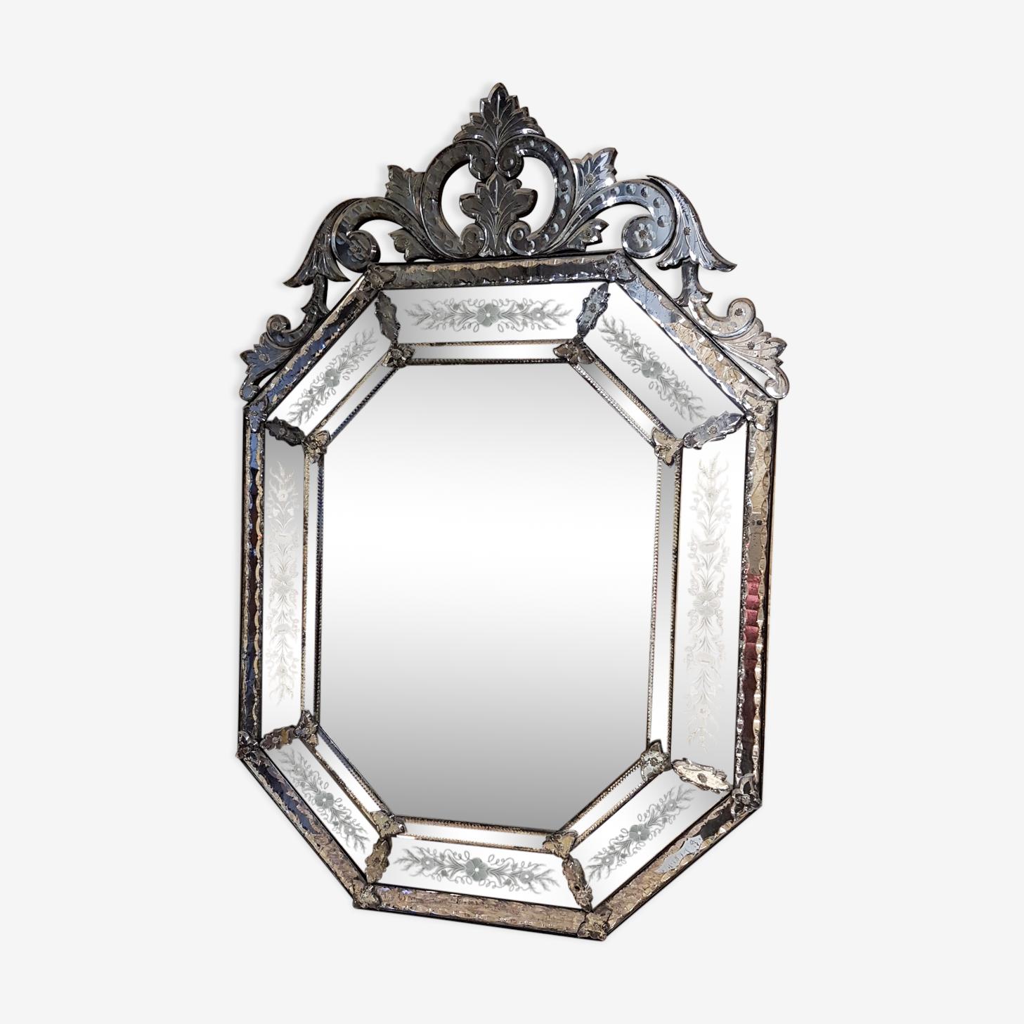 Miroir vénitien à fronton et parclose 72x108cm