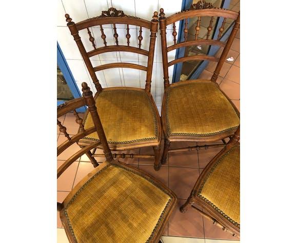 4 chaises noyer massif style Louis XVI vintage