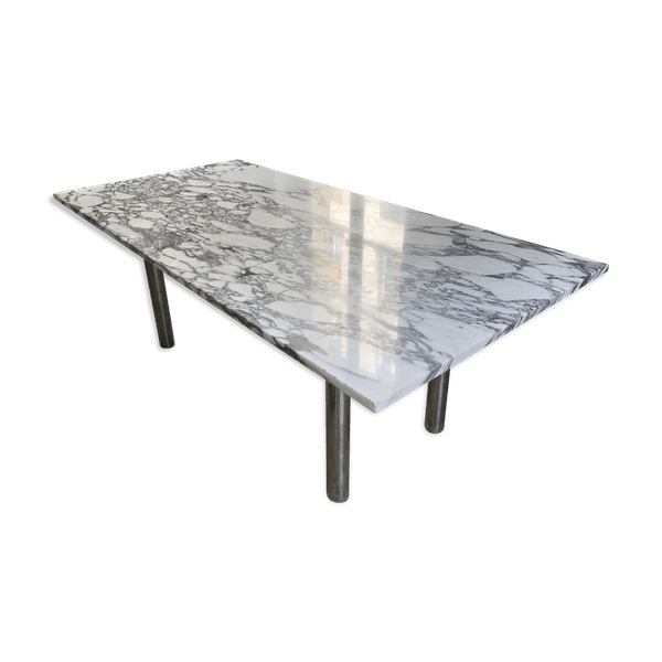 Table A Manger Marbre.Table Salle A Manger Marbre Annees 70 Marbre Blanc Dans Son Jus Design Xgzpvmz
