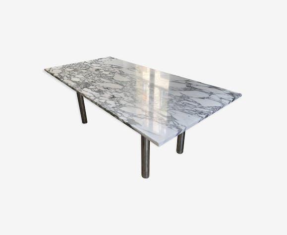 Table salle à manger marbre années 70 - marbre - blanc ...