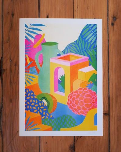 Illustration A3, raspberry house, en risographie