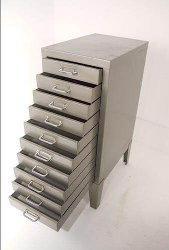 Grey industrial furniture on feet 1970s