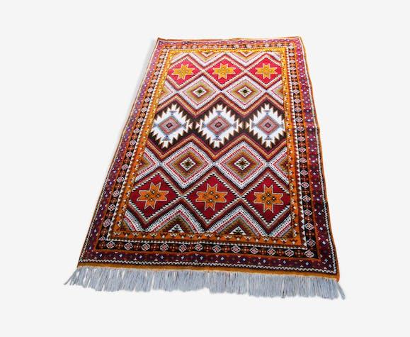 Tapis orange rouge laine marocain 153x252 cm - laine/coton ...
