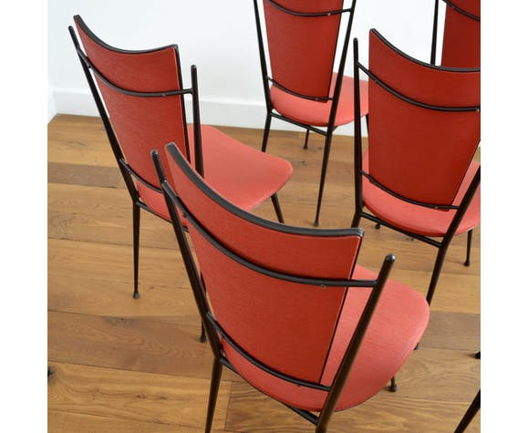 Suite de 8 chaises vintage rockabilly 1950