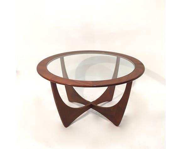 Table basse Astro en verre et teck