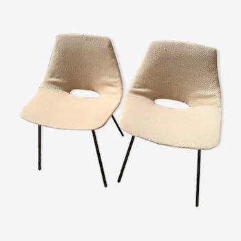"""Paire de chaises Pierre Guariche """"tonneau"""" 1950"""