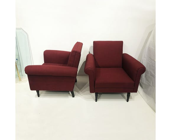 Pair Of Mid Century Italian Burgundy Lounge Armchairs Red Black