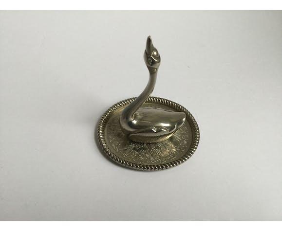 Porte bagues forme de cygne en métal argenté