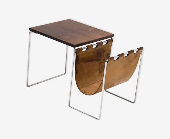 Brabantia Side Table Magazine Rack Leather Chrome 1970s