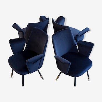 Lot de 4 fauteuils velours Roma 1950