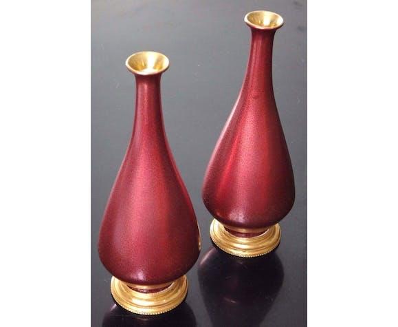 Paire de vases soliflore porcelaine Royal couronne vase craquelé  XIX