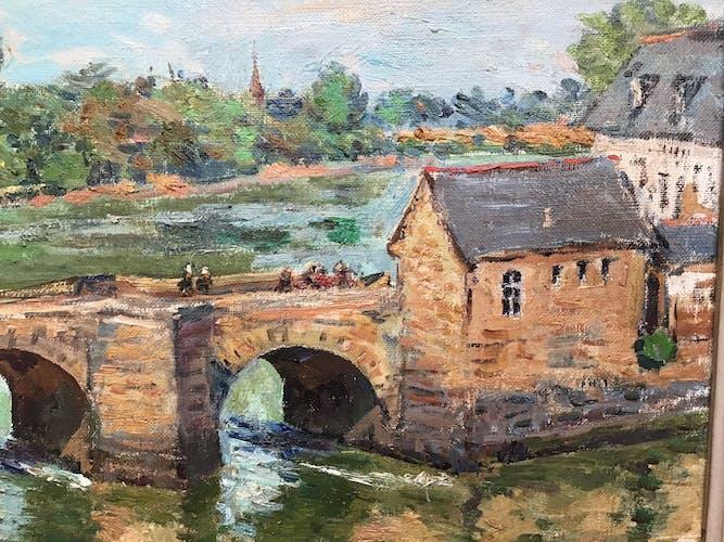 Pont Saint-Gustan à Auray - Huile sur toile