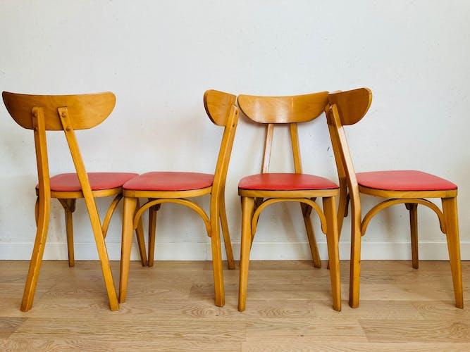 "Lot 4 chaises bistrot Luterma dossier ""banane"" années 50"