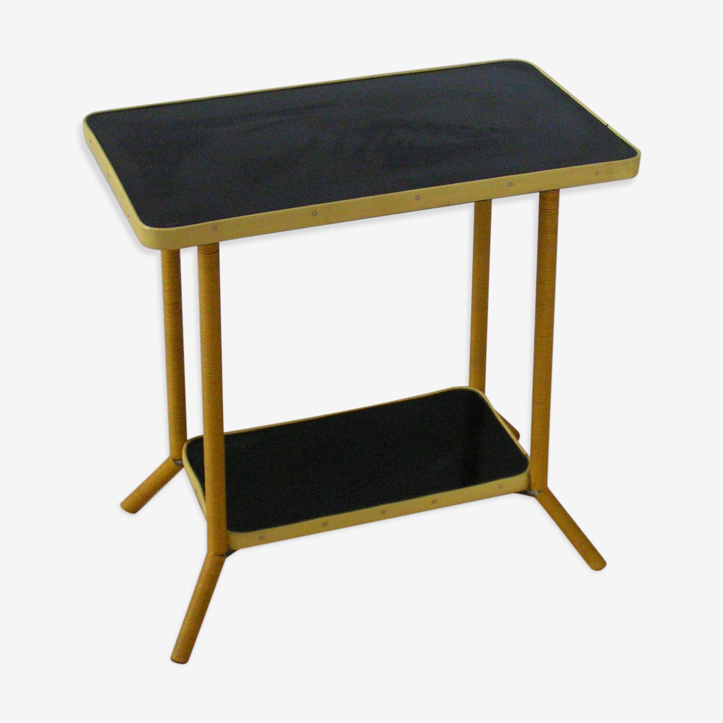 Table d'appoint en scoubidou et formica années 60