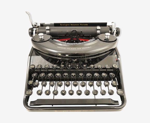 Machine à écrire Remington Noiseless portable noire de 1935 révisée ruban neuf