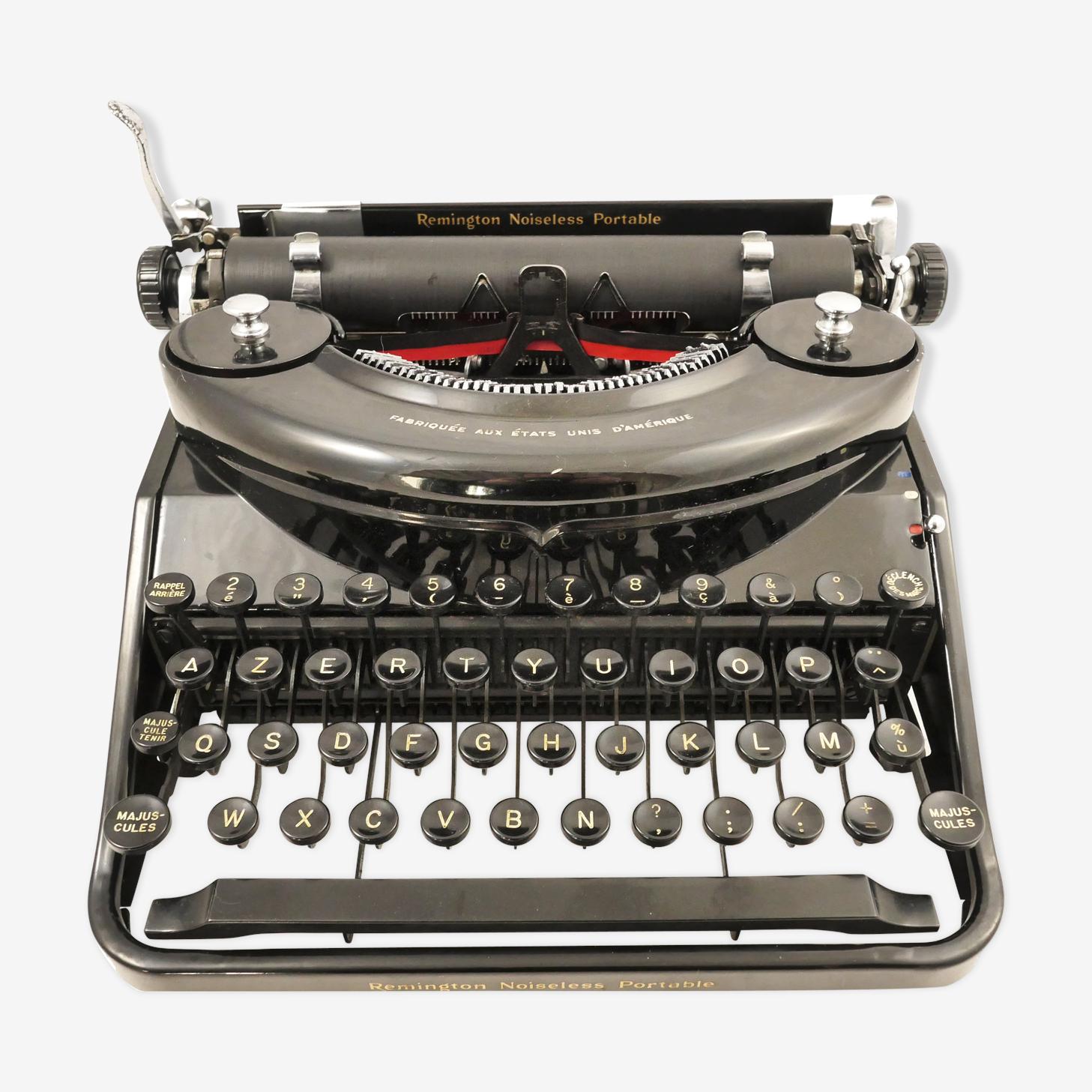 Typewriter Remington Noiseless portable black of 1935 revised nine Ribbon