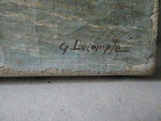 Tableau, huile sur toile paysage de montagne, signé