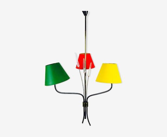 Lustre lampes abat-jours Maison Lunel  années 1960