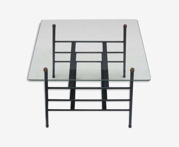 d2111429c8 Small side table magazine rack in metal and glass 1950s - glass and ...