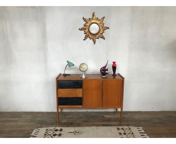 Enfilade vintage, meuble tv 1950 chêne clair