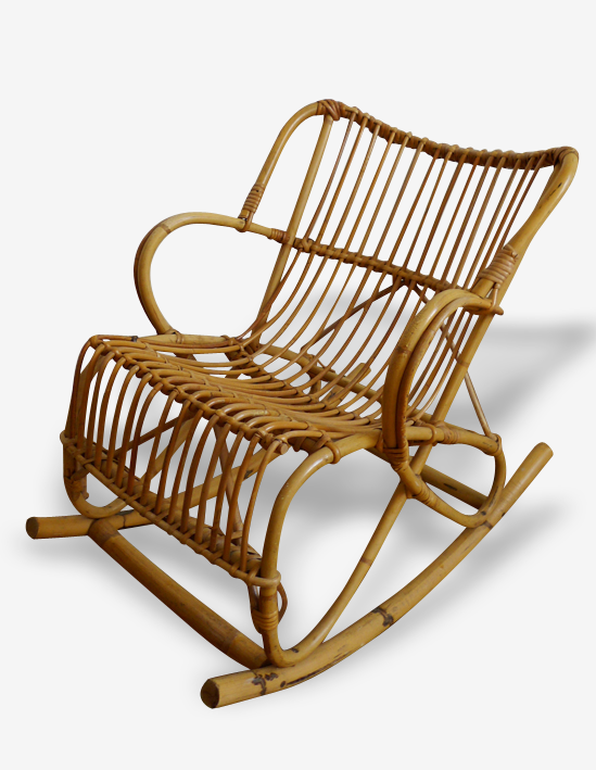 Mini fauteuil à bascule en rotin