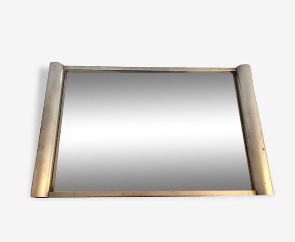Plateau Miroir Art Deco Vintage Cadre Métal Metal Silver Color
