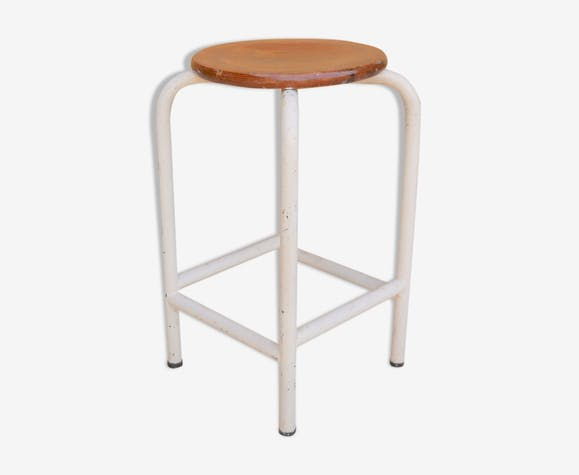Vintage metal and wood workshop stool
