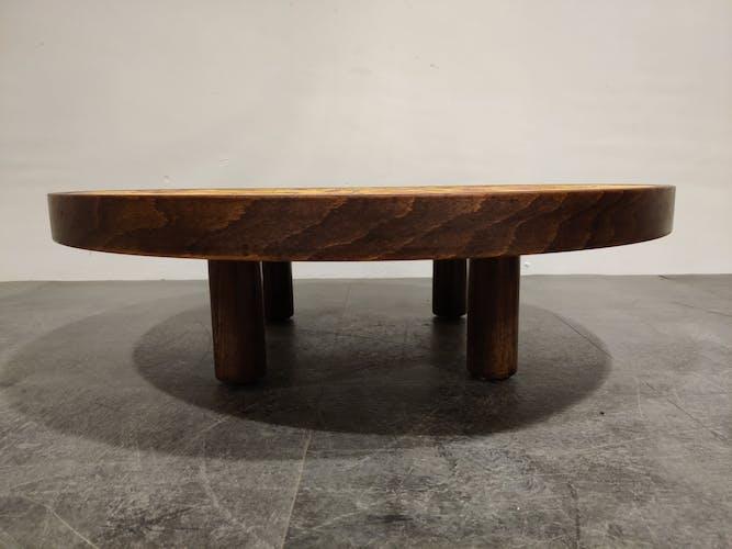 Table basse ronde par Roger Capron, années 1970