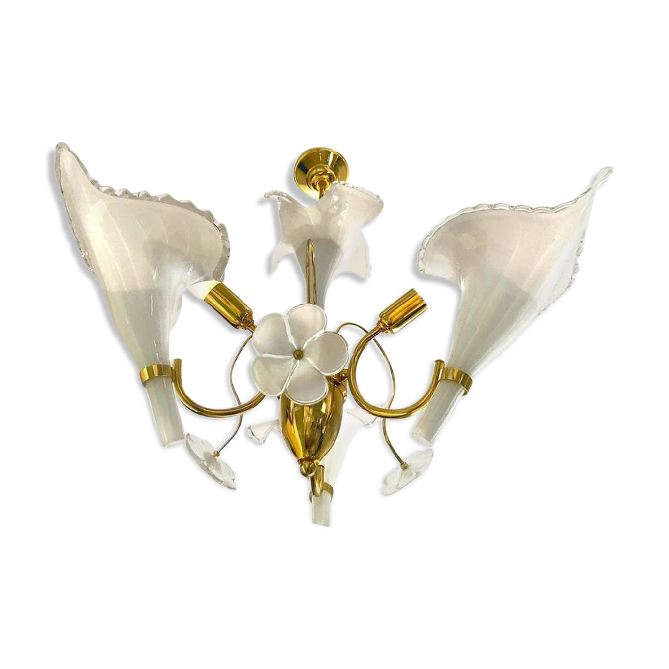 Chandelier Franco Luce Murano glass in 1960 Golden frame - glass and ...