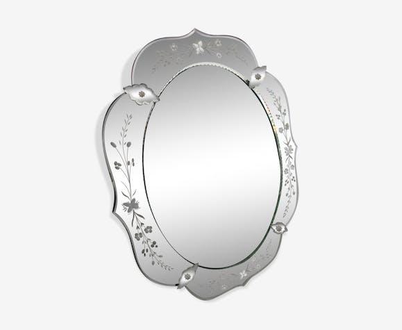 Miroir vénitien murano 1930 - 48x61cm