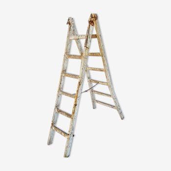 Old scale double painter year 50 wooden stepladder has 6 bars