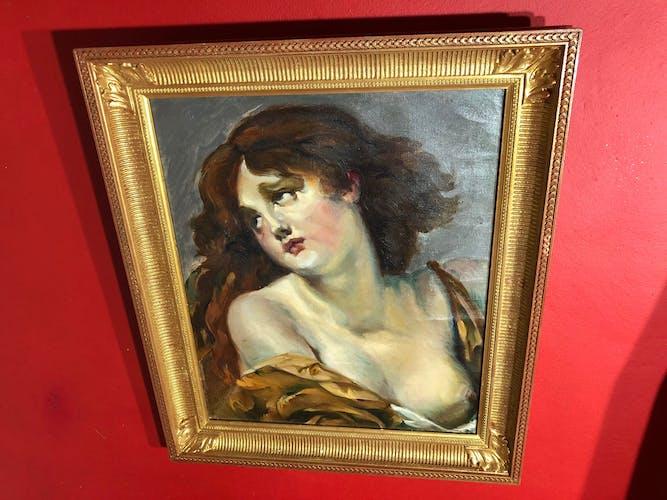 Huile sur toile représentant un portrait de dame à l'étoffe