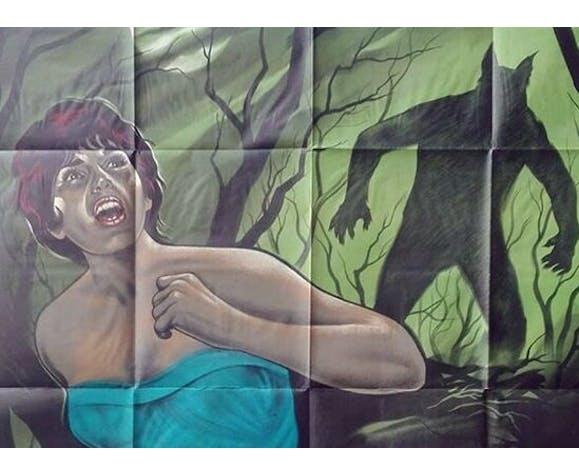 Affiche originale 1961 nuit du loup garou 120x160 cm Hammer