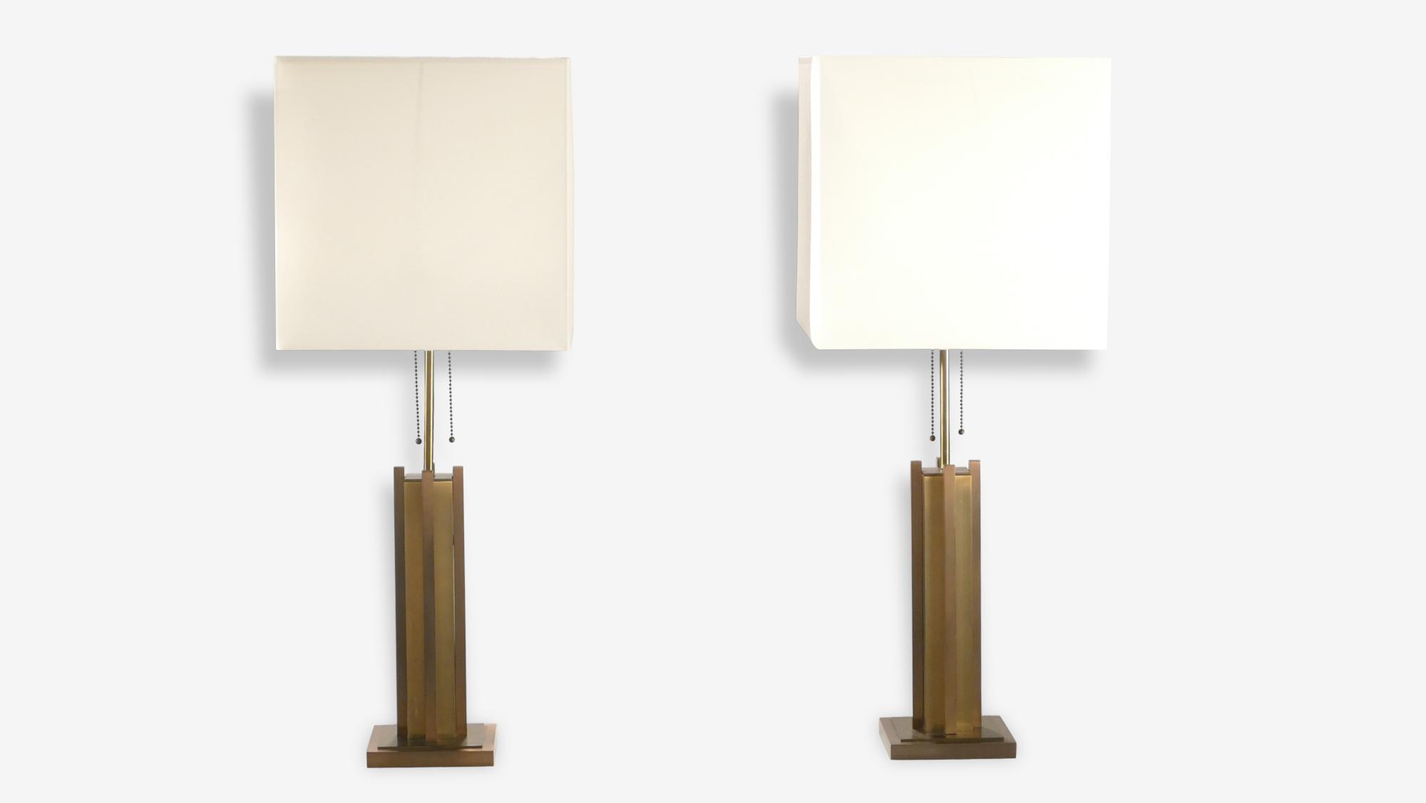 Paire de lampes laiton et bronze Gaetano Sciolari années 70