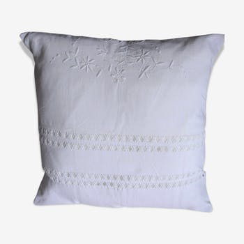 Cushion linen white floral embroidery Deco charm romantic