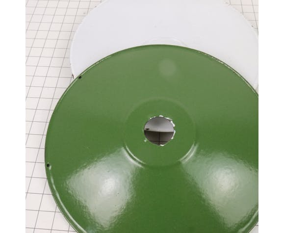 Suspension galette en émail vert