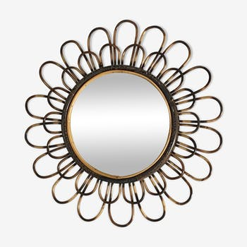 Miroir soleil en rotin arqué