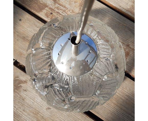 Suspension boule verre moulé vintage