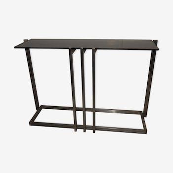 Table console acier brossé design Paul Le Geard année 70